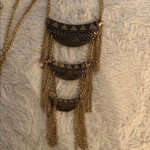 Long gold tribal necklace